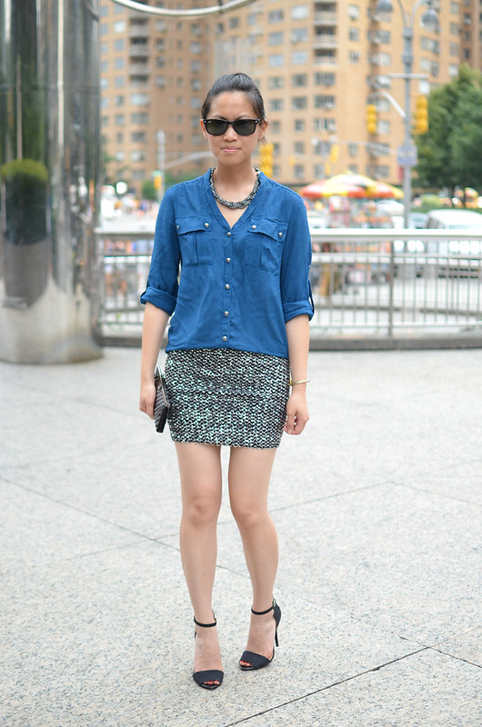 sequin mini skirt & military style blouse