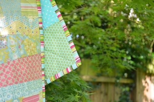 Baby girl quilt binding details