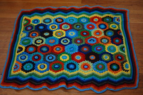 Corbin's colorful hexagon blanket