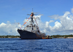 In this file photo, USS Sampson (DDG 102) arrives in Guadalcanal Aug. 6 to take part in the island's commemoration of the 70th anniversary of the World War II battle there. (U.S. Navy photo)