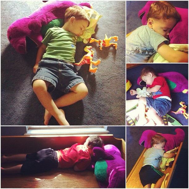 This is how I find Aaron if he's napping when I pick him up!! #barney