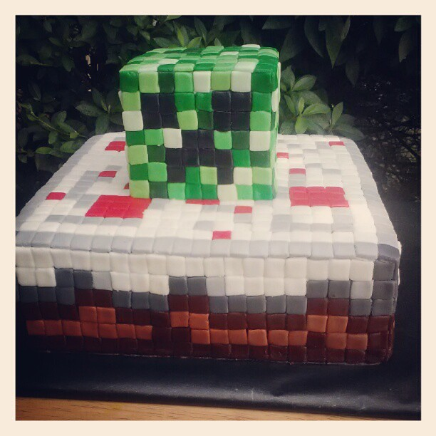 Swell Minecraft Birthday Cake With Creeper Head Sabrina Hill Flickr Personalised Birthday Cards Paralily Jamesorg
