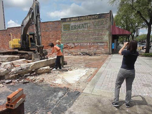 People examine the destruction