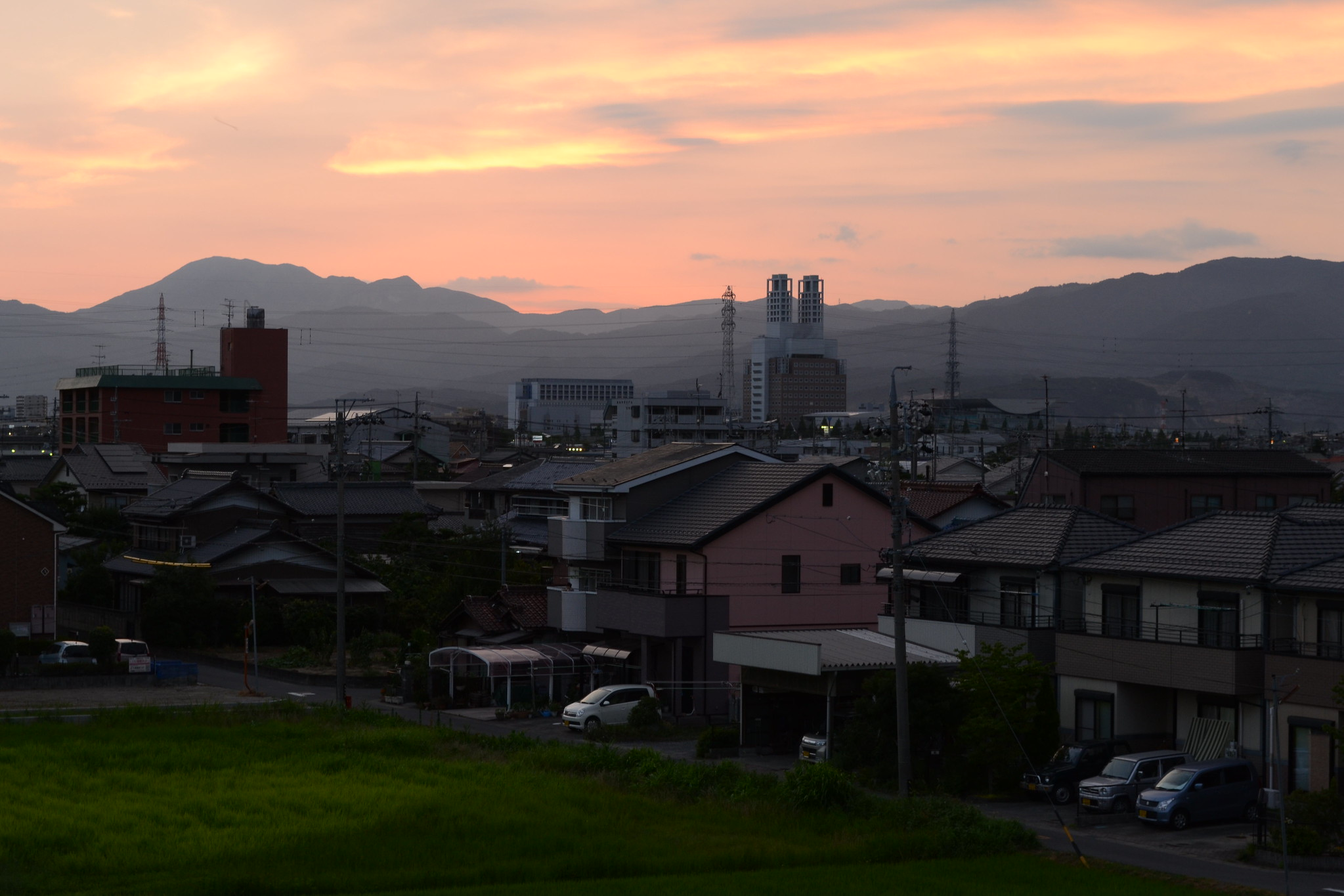 Japan, Gifu, Ogaki, Town, Sunset, Mountains,