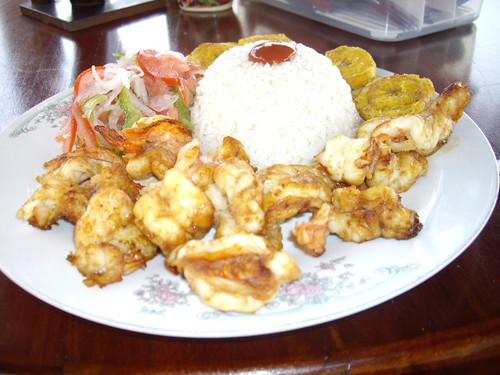 This was our average meal. Rice, Shrimp, Vegetables, and fried bananas. :)