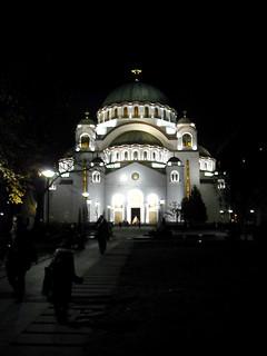 St Sava temple, Belgrade, by night.