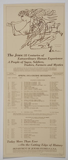Poster [2012.0.5]: The Jews: 35 Centuries of Extraordinary Human Experience… Spring 1974 Course Offerings [of the] Department of Jewish Studies, CCNY (New York, USA, 1974)
