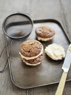 brownie cookies with maple and bourbon buttercream
