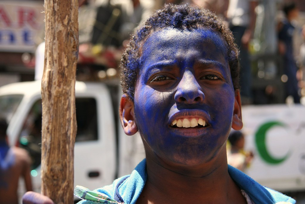 Painted Blue At Sheik Abu al-Haggag's Festival, Luxor, Egypt
