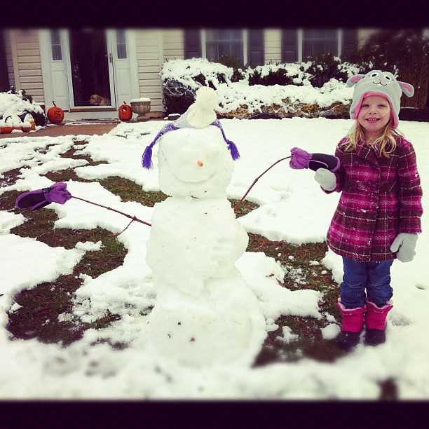 M and I made a snow girl named Abby since A had to go to school and couldn't keep playing with us!