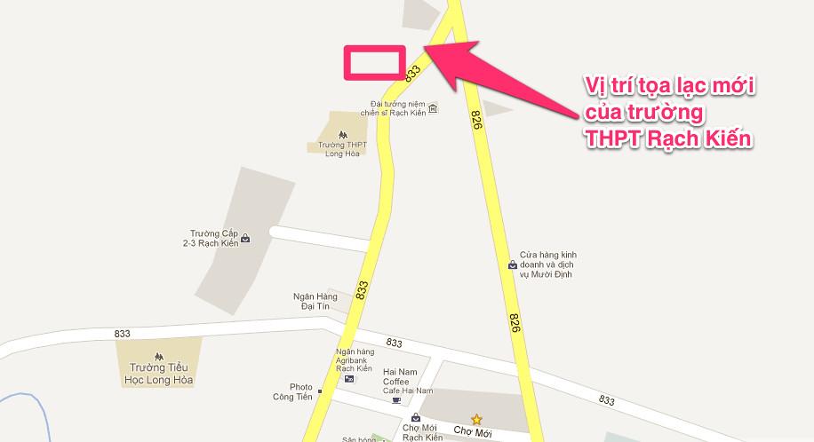 vị trí toạ lọa mới của trường THPT Rạch Kiến, xã Long Hòa, huyện Cần Đước, tỉnh Long An