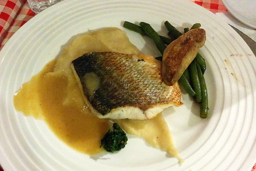 Fish with Foie Gras and Celeriac Puree