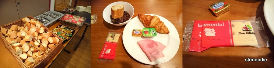 bread, ham, croissant, cheese breakfast