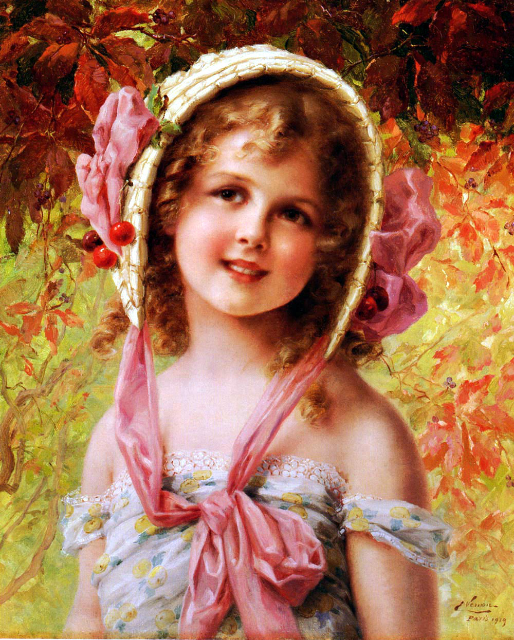 The Cherry Bonnet by Emile Vernon, Date unknown