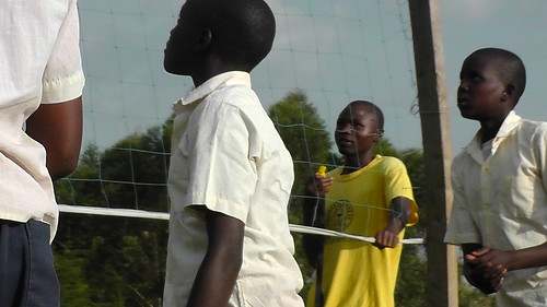 Athletics teacher Mr. Bett coaching the girls after school