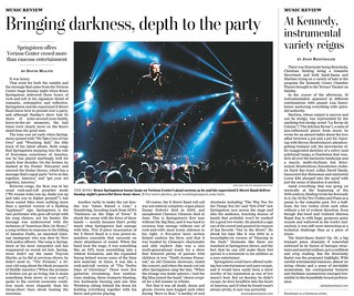 Bruce Springsteen Washington Post Tearsheet