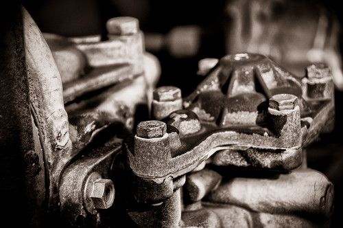 closeup of railroad car machine parts by mazemet