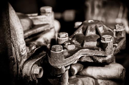 closeup of railroad car machine parts by mazemet