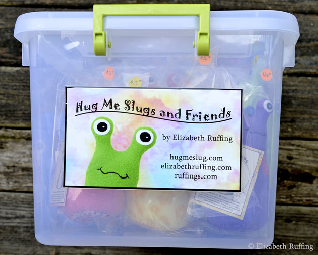 Hug Me Slugs, Hug Me Sock Kittens, original art toys by Elizabeth Ruffing