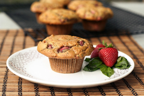 Strawberry Basil Almond Flour Muffins - Gluten-free, Dairy-free, Refined Sugar-free