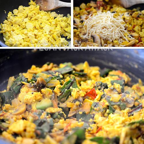 Making a loaded tofu scramble