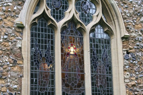 Church window from the outside - lined up with lightbulb on the inside