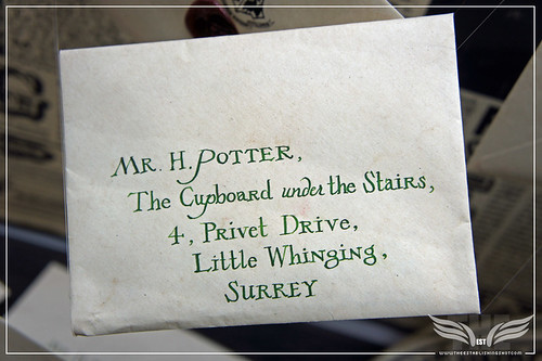 The Establishing Shot: The Making of Harry Potter Tour - Interior Sets Harry Potter's invitation to Hogwarts School of Witchcraft and Wizardry addresed to Mr H Potter The Cupboard under the stairs by Craig Grobler