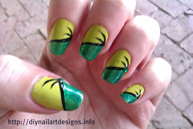 DIY Nail Art Designs: Easy Two-Tone Green Nail Design with ...