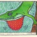 Florida Green Anole woodblock print
