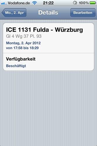 Kalendereintrag ICE 1131 Fulda - Würzburg