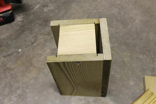 Attach birdhouse floor