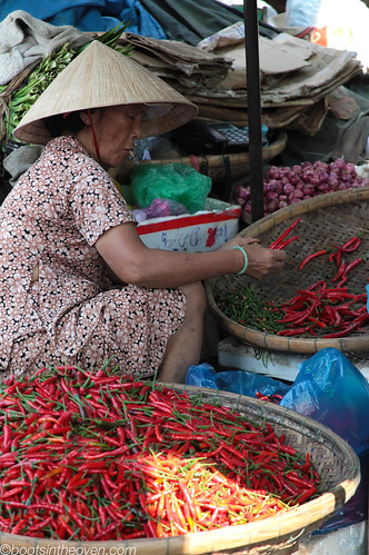Sorting Peppers at Dong Ba Market, Huế
