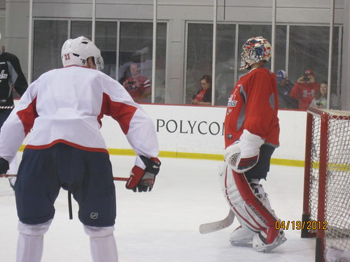 4/19/12: Neuvy in goal for practice.
