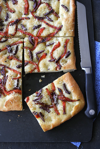 Focaccia-Recipe-with-Roasted-Peppers-&-Olives-Baker-Street