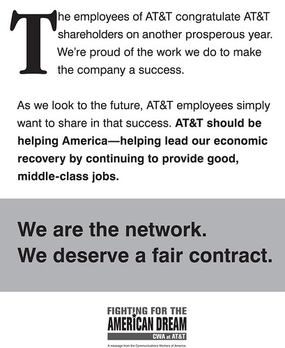CWA at ATT Newspaper Ad