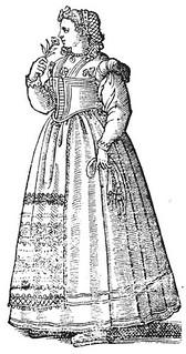 Cesare Vecellio: Unmarried peasant woman of Tuscany, 1590 De gli Habiti antichi et moderni di Diverse Parti del Mondo