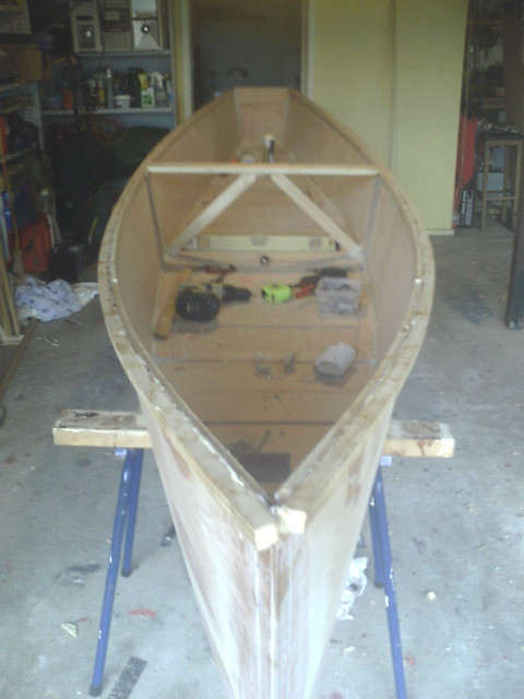 Electric quick canoe under construction.