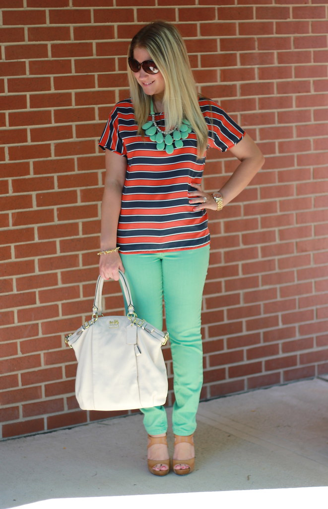 mint skinny jeans striped top casual outfit