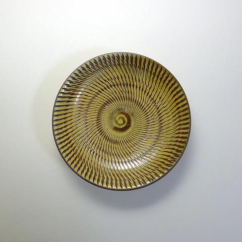 坂本浩二窯 5寸皿/飛びかんな(飴)