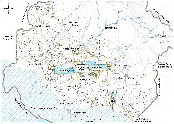 зоны Ангкор с плато Кулен