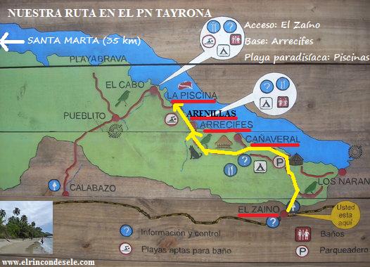 Mapa del Parque Tayrona