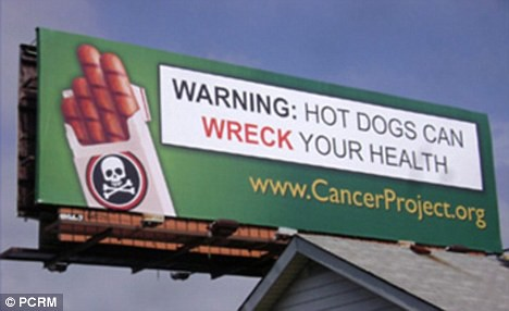 Hot Dog Cancer Warning Billboard