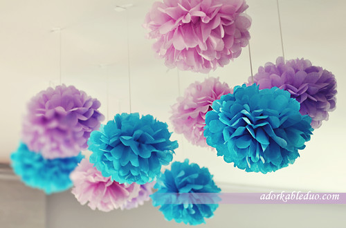 DIY tissue poms to hang on ceiling for party decoration - adorkableduo.com