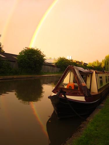 Narrowboat Double Rainbow