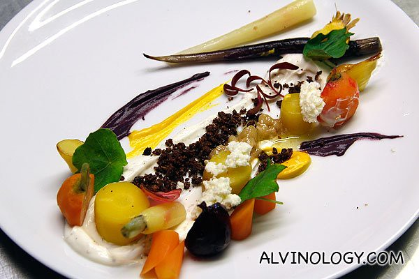 My version of the Salad or heirloom carrots with goats' curd, hazelnut and cocoa