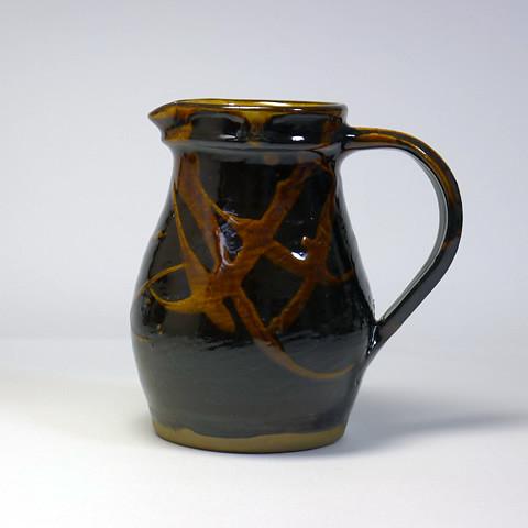 黒木富雄窯 5寸ピッチャー/黒釉ポン描き