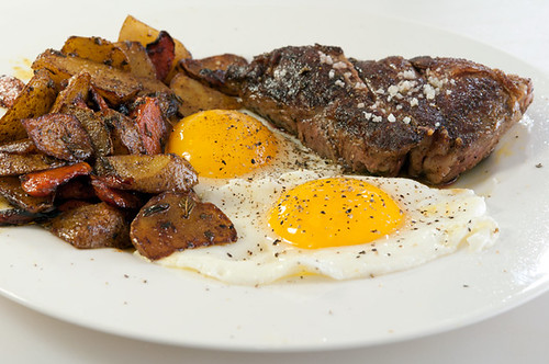 steak, eggs, potatoes