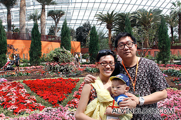 Happy family at the Flower Dome
