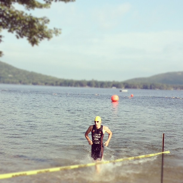 First out of the water is @triathlonbrett by 2.5 minutes #latergram #ifeellazy #vermontsun