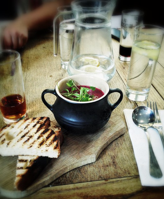 Curried beetroot soup, The Chequers, Bath